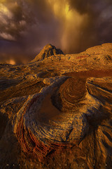 """Monsoon Euphoria"" (Mark Metternich) Tags: markmetternich markmetternichcom desert landscape sandstone sand drama damatic light sunset thunderhead thunderstorm monsoon arizona surreal surrealscape sw southwest tours tour workshops workshop"