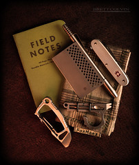 Inconspicuous Carry (Fly to Water) Tags: jho knives knife lynx credit card blade edge s35vn ti2design techliner halo halobiner biner carabiner titanium edc every day carry koch tools duo deuce pocket tool sak swiss army alox pioneer field notes inconspicuous low profile foxhanx fox hanx handkerchief