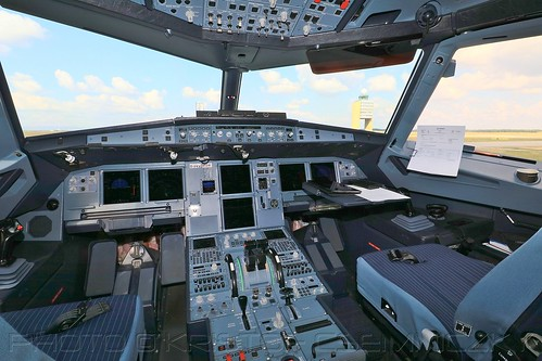 Airbus A321neo D-AVXB cockpit with the Control Tower of Budapest Liszt Ferenc International Airport