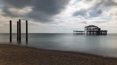 West Pier (scarlet-pimp) Tags: grade1 decay pier brighton nd eugeniusbirch longexposure clouds nd10 brightonbeach westpier sky filter 1635mm canon5d beach abandoned sea