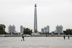 The Juche Tower in Pyongyang, North Korea (DPRK) (tommcshanephotography) Tags: adventure asia communism dprk democraticpeoplesrepublicofkorea expedition exploring kimilsung kimjungil kimjungun northkorea pyongyang revolution secretcompass travel trekking