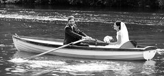 Avon Wedding, Stratford-Upon-Avon 24/08/2014 (Gary S. Crutchley) Tags: uk wedding england urban bw white black west heritage history monochrome river ed mono groom bride boat town nikon britain united country great kingdom boating and rowing local nikkor townscape avon westmidlands 28300mm warwickshire vr stratford afs upon stratforduponavon midlands d800 f3556g