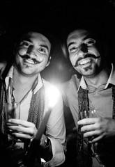 London Street: Gordon's (christait) Tags: street uk men london smiling dark britain wineandcheese candlelight cellar mustaches gordons ilforddelta3200 leicam3 ilfotechc zorky50mmf2jupiter8