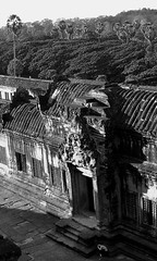 Alone @ Angkor Wat - Cambodia (jcbkk1956) Tags: city blackandwhite girl temple mono ancient nikon ruins cambodia khmer photographer angkorwat coolpix angkor 4300 seamreap