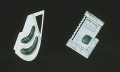 malachite brooches (laurance.rick) Tags: silver brooch jewelry ornament sheet sterling malachite brosch fabricated reticulated smycken soldered