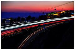 Benalmadena (tsobanski19) Tags: sunset costa sol night del spain sonnenuntergang traffic motorway nacht cable autobahn autopista cablecar verkehr malaga spanien seilbahn benalmadena