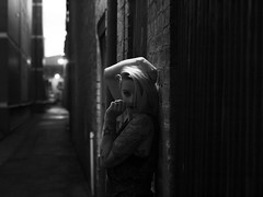 Angels sigh (All we ever really have, is the moment) Tags: white black girl beautiful silver dark hair model moody natural alt alleyway mysterious alternative