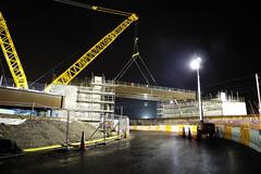 Folly Railway Bridge 141130q (Ian R. Simpson) Tags: follybridge railway bridge construction heyshamm6link lancaster lancashire westcoastmainline wcml scaffold crane floodlights england