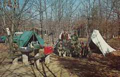 Boy Scouts camping out (rfulton) Tags: camping blackandwhite cars boys vintage children boyscouts bsa vactions vintagekids