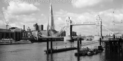 The Shard and Tower Bridge from Wapping #2 (Dave Butcher Photography) Tags: bridge blackandwhite london thames clouds towerbridge river photograph shard fineartphotography davidbutcher davebutcher