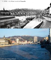 La Meuse et la vue sur le passerelle. (Lige, Hier et Aujourd'hui) Tags: luik meuse lige passerelle lameuse provincedelige provincievanluik