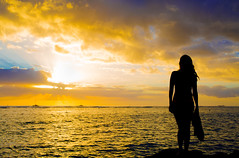 Where has your lover gone (rackers315) Tags: ocean sunset sky woman beauty silhouette clouds canon hawaii rocks waves pacific sandals godspaintbrush