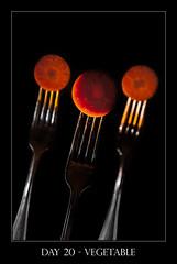Day 20 - Vegetable (purplefrog7777) Tags: orange black key silverware low fork vegetable carrot worth1000 purplefrog 30day