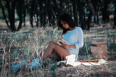 trees&books (alllen.alien) Tags: trees woman white nature girl beautiful beauty forest reading book spring legs outdoor books explore springtime