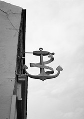 Salt & anchor (bigalid) Tags: bw film sign pen 35mm kodak olympus northumbria anchor april expired amble 2016 bw400cn ee2