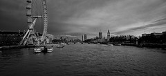 London Panoramic (Marco D'Emilia) Tags: bridge sky white black london eye water thames clouds big cityscape ben panoramic