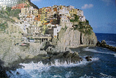 Manarola, Italy (pefkosmad) Tags: sea italy coast hobby puzzle leisure jigsaw manarola complete pastime clifftop unboxed 1000pieces