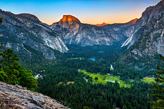 Half Dome and Yosemite Valley at sunset (ScorpioOnSUP) Tags: california trees sunset sky mountains nature landscape photography nationalpark twilight rocks sundown dusk sunsetglow halfdome yosemitenationalpark wilderness glacierpoint rockformations gloaming mercedriver naturephotography cloudsrest northdome grizzlypeak tenayacanyon landscapephotography snowpatches mtclark graypeak mtstarrking