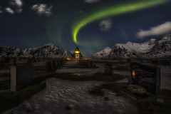 Eternal Light (Ral Podadera Sanz) Tags: travel norway night wow landscape cementerio aurora nocturna noruega lofoten artic boreal artico raulpodadera