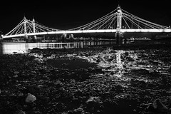 Rising from the Mud (Torsten Reimer) Tags: uk longexposure england blackandwhite london water thames night reflections river europa europe mud nacht unitedkingdom gb lowtide brcke fluss battersea wandsworth themse schlamm chelseabridge langzeitbelichtung reflektionen schwarzweis