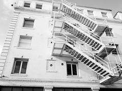 Venice Beach Silhouettes (johnmartin25) Tags: blackandwhite venicebeach fireescape hotel