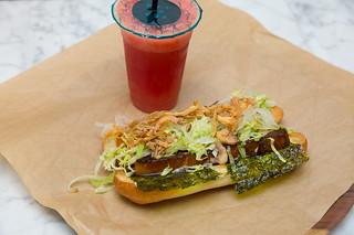 Soy Glazed Pork Belly Sandwich & Fresh Watermelon Juice