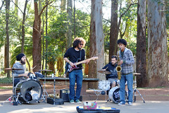 Band playing at Ibirapuera Park (slyronit) Tags: park brazil music musicians drums guitar sopaulo ibirapuera saxophone