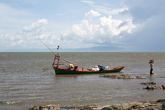 Kampot, Cambodia (Quench Your Eyes) Tags: travel beach boat fisherman asia cambodia southeastasia village fishingboat biketour kampot fishermanboat