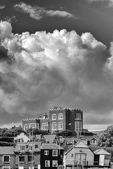 Bleak House, Bleak Skies (markkilner) Tags: canon eos 7d dslr kent england kilner 50mm broadstairs vikingbay blackandwhite monochrome bleakhouse dickens clouds tartarfrigate bleak