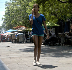 Cut Off (tacosnachosburritos) Tags: neworleans bigeasy crescent city urban gritty thestreets street photography humanity art artwork andrew jackson square tourist trees girl woman chick pretty gorgeous lady shades shortshorts legs cutoffs