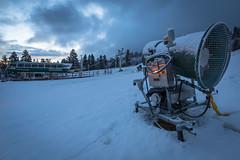 First snow storm of the 2014-2015 winter season at Snow Summit in Big Bear Lake, California.