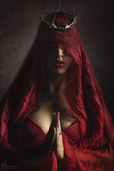 Bloody Mary (Hidrico) Tags: red portrait beauty saint female religious mary religion lingerie virgin redlips crown thorns provocative
