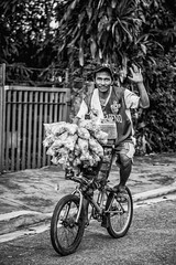 Mang Egoy (roxskulet) Tags: blackandwhite smile bicycle streetphotography pinoy balot marikina chicharon penoy marikinaheights egoy