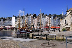 The Vieux Bassin (oxfordblues84) Tags: blue sky france water architecture clouds buildings boats europe bluesky honfleur oldport normandy 5photosaday lowernormandy roadscholar roadscholartour thevieuxbassin