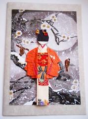 All-purpose handmade card 44 (tengds) Tags: flowers winter red orange white snow birds branches card kimono obi papercraft japanesepaper washi ningyo handmadecard chiyogami yuzenwashi japanesepaperdoll washidoll origamidoll kimonodoll tengds allpurposecard