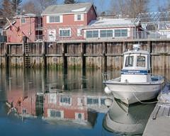 winter snow reflection ice harbor maine freeport harbormaster