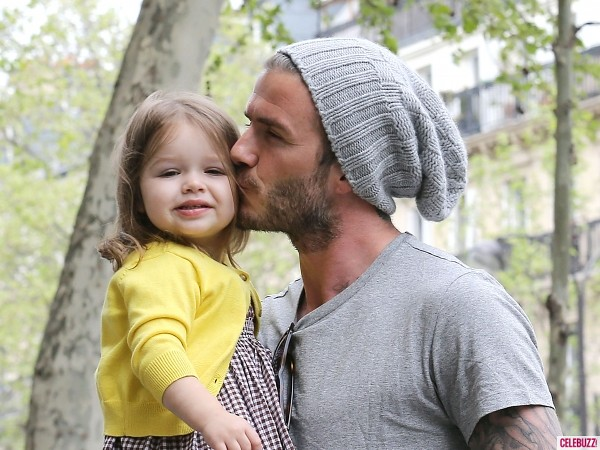 Harper Seven Beckham with father David Beckham