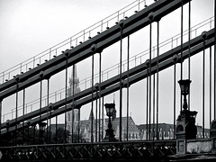 #Budapest Bridge (lschoeb) Tags: bw hungary budapest bridges danube easterneurope danuberiver chainbridge blackwhites