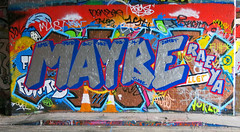 Maybe (cocabeenslinky) Tags: street city uk blue england urban streetart london art writing canon silver graffiti march paint artist grafitti power shot photos south graf united capital letters kingdom tunnel can spray powershot east waterloo chrome maybe rae graff ya leake se1 artiste 2014 g15 cocabeenslinky