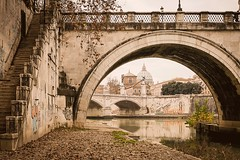 Cupola-sotto-al-ponte (marcoemme182) Tags: street city autumn italy rome roma reflection church water beauty leaves stairs river graffiti ancient ruins europe italia fiume sigma explore tevere sanpietro citt saintpeter