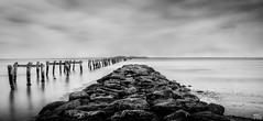 Groyne at Clifton Springs (mark.iommi) Tags: seascape pier blackwhite shoreline australia youyangs lomgexposure bellarinepeninsula cliftonsprings innamoramento