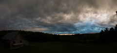 Storms and Sunset, Montague, MA 5.19.16 (koperajoe) Tags: blue sunset sky panorama storm clouds pano newengland duotone drama hdr splittone westernmass