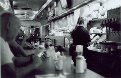 Just another morning at the diner (Stephen Hilton) Tags: bw blackwhite diner fp4 canonetgiiiql17