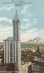 "Frank Nowell photo- ""The Two Centinels"" (912greens) Tags: seattle mountains rainier postcards mtrainier streetscenes smithtower 1900s cityscenes historicseattle historymt"