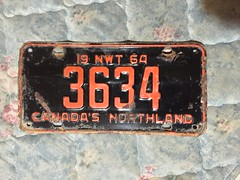 NORTHWEST TERRITORIES 1964 ---LICENSE PLATE #3634 (woody1778a) Tags: traders fortrade forsale northwestterritoriesarcticnwthistorichistorical northwestterritories canada licenseplate numberplate myhobby mytraders woody alpca