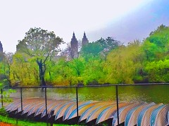 """ Canoes At Central Park "" (ColFineArtistMar1) Tags: city nyc trees sky lake ny water colors grass buildings outdoors centralpark manhattan scenary parl conoes"