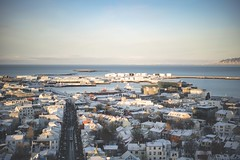 Early morning Reykjavik from the top of the Hallgrimskirkja. (Scrooge0) Tags: city morning travel urban zeiss sunrise iceland europe hallgrimskirkja reykjavik goldenhour aerials urbanlife travelphotography iseland a7s sel55f18z sonya7s