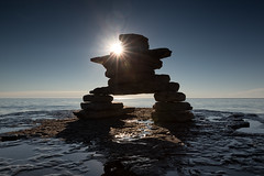 You are on the right path (Mark Heine Photos) Tags: ca morning summer sun ontario canada rocks georgianbay north clear shore flare brucepeninsula inukshuk millerlake dyersbay markheine