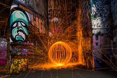 fire in the hole! (lloydich) Tags: london wool night fire graffiti wire southbank sphere shortest