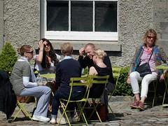 Art Lovers in the Sun (mikecogh) Tags: friends dublin cafe break group museumofmodernart conversation